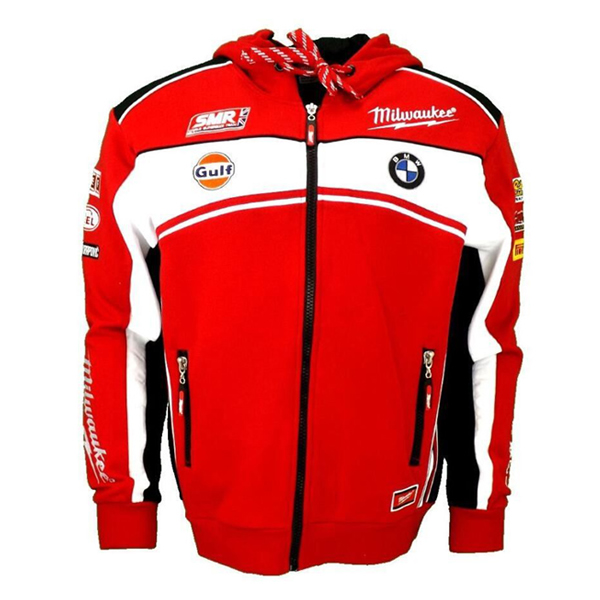 Man Red Bmw Zip Hoodie Pullover Jacket Riding Motorcycle